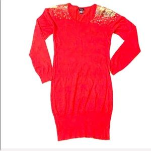Rue 21 Red with Gold Sequin Dress 0276 Size Medium